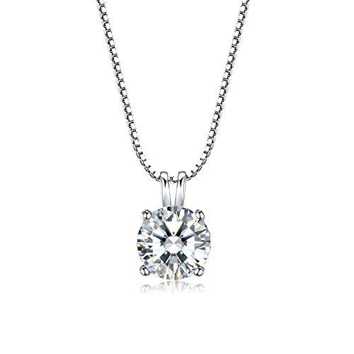 """Klein Silberschmuck Ketten Halskette, Design Inspiration """"Du bist alle meine welt"""", 925 Sterling Silber Zirkonia mit runde Anhänger für Damen Mädchen v.éclat"""