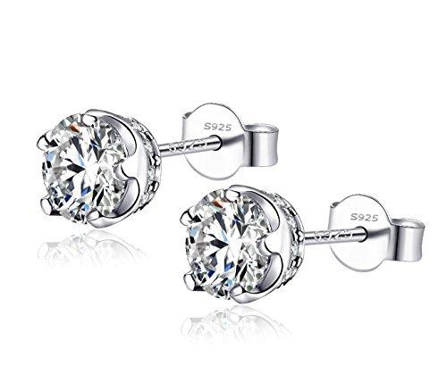 Ohrringe Damen Sterling Silber 925 Ohrstecker Earrings Zirkonia Steine, Dorosé Ohrschmuck Geschenk für Frauen Mädchen Kinder