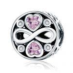 Rosa Zirkonia Herz 925Sterling Silber Bead Charms Infinity Love zu Familie Christmas Gifts passend für europäische Armband Schmuck