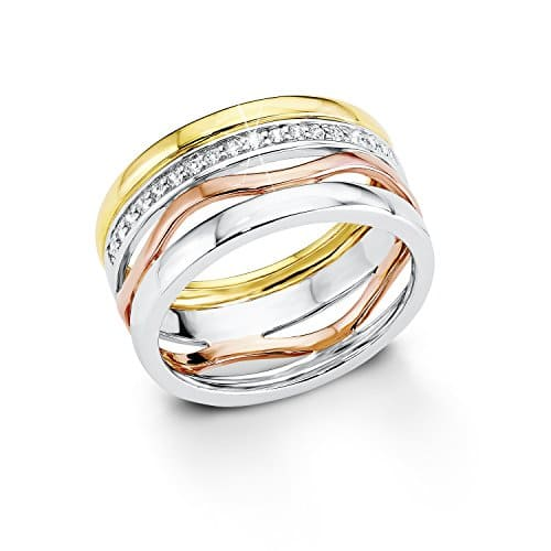 S.Oliver Damen-Ring Silber vergoldet teilvergoldet Zirkonia weiß Gr. 54 (17.2) - 508759