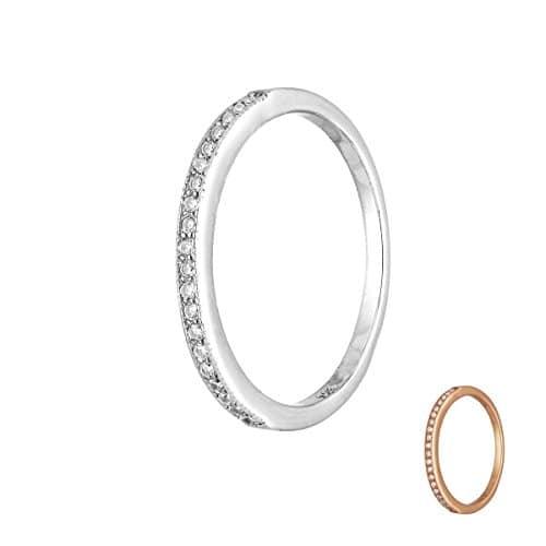 Treuheld® | 925 Sterling Silber RING mit KRISTALLEN - SILBER oder ROSE-GOLD - Strass Damen-Ring mit Zirkonia - Schmuck mit Kristallsteinen in 8 Größen: 48, 50, 52, 54, 56, 58, 60, 62 - Hochzeitsring silber 52