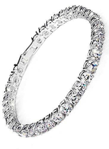 Neoglory Jewellery Silber Zirkonia Tennisarmband Damen weiss luxus elegant - Neoglory Jewellery Silber Zirkonia Tennisarmband Damen weiß luxus elegant