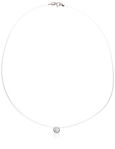 So Chic Schmuck - Damen Halskette Collier Nylonband Ketten-Anhänger Scheibe 40 cm Zirkonia Weiß Sterling Silber 925