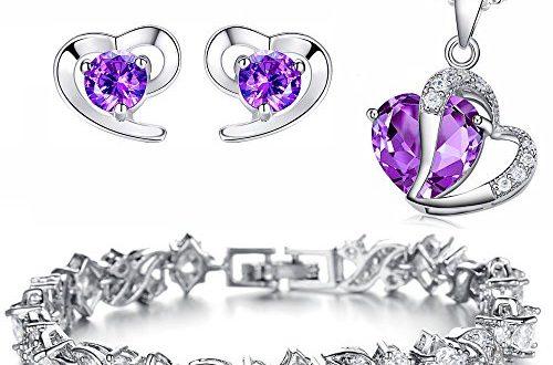 """Kim Johanson Damen Schmuckset """"Elegant Purple"""" Halskette mit Anhänger, Ohrringe & Armband aus 925 Sterling Silber & Edelstahl mit Zirkonia Steinchen besetzt inkl. Schmuckbeutel"""